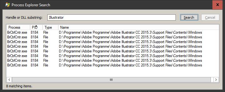 Process Explorer - Suchmaske